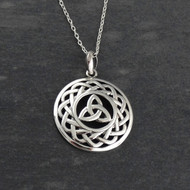 Celtic Trinity Knot Triquetra Pendant Necklace - Sterling Silver