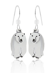 Polar Bear Earrings - 925 Sterling Silver Ear Wires