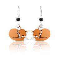 Sleeping Fox Earrings - 925 Sterling Silver Ear Wires