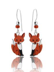 Fox Earrings - 925 Sterling Silver Ear Wires