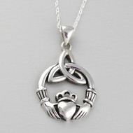 Trinity Claddagh Pendant Necklace - 925 Sterling Silver