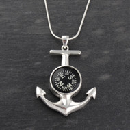 Working Compass Anchor Necklace - Sterling Silver