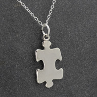925 Sterling Silver Engravable Puzzle Piece Charm Necklace