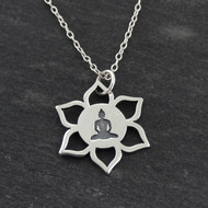 Lotus Flower Buddha Necklace - 925 Sterling Silver
