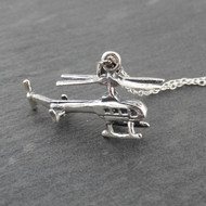 3D Helicopter Charm Necklace - 925 Sterling Silver