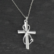 Infinity Wrapped Cross Necklace - 925 Sterling Silver