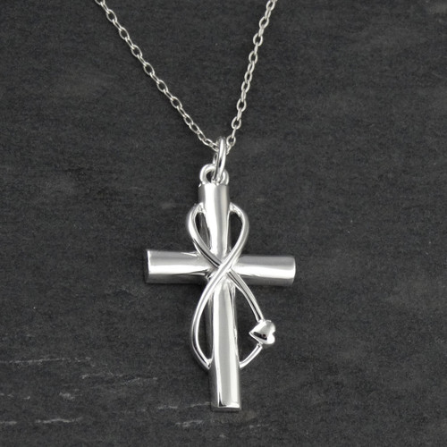Sterling Silver Infinity Wrapped Cross Necklace
