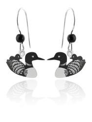 Loon Earrings - 925 Sterling Silver Ear Wires