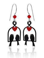 Love Bird Earrings - 925 Sterling Silver Ear Wires