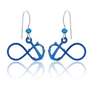 Blue Anchor Infinity Earrings - 925 Sterling Silver Ear Wires