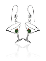 Martini Glass Earrings - 925 Sterling Silver Ear Wires