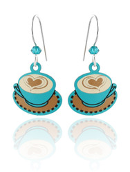 Cappuccino Latte Coffee Cup Earrings - 925 Sterling Silver Ear Wires
