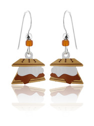 Campfire S'mores Earrings - 925 Sterling Silver Ear Wires