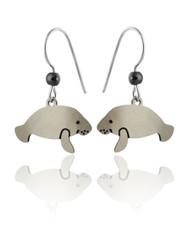 Manatee Earrings - 925 Sterling Silver Ear Wires