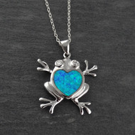 Blue Opal Frog Necklace - 925 Sterling Silver