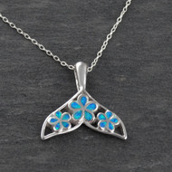 Blue Opal Plumeria Whale Tail Necklace - 925 Sterling Silver