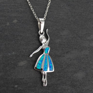 Blue Opal Ballerina Pendant Necklace - 925 Sterling Silver