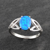 Trinity Celtic Knot Opal Ring - 925 Sterling Silver