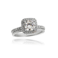 Round CZ Halo Engagement Wedding Ring Set - 925 Sterling Silver
