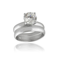 Round Solitaire CZ Engagement Wedding Ring Set - 925 Sterling Silver Cubic Zirconia