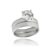 Solitaire CZ Engagement Wedding Ring Set - 925 Sterling Silver Cubic Zirconia