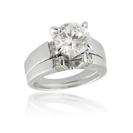 Solitaire V-Cut Engagement Wedding Ring Set - 925 Sterling Silver, Cubic Zirconia