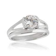 Solitaire Engagement Wedding Ring Set - 925 Sterling Silver, Cubic Zirconia