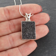 Black Quartz Druzy Stone Necklace - Sterling Silver - Snake Chain
