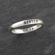 Engraved SISTER Stacking Ring - Sterling Silver
