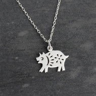 Year of the Pig Necklace - Sterling Silver - Chinese Zodiac Pendant