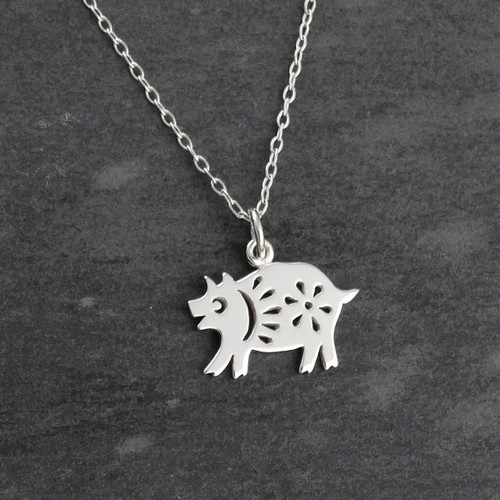 Engravable Chinese Zodiac Dog Tag Necklace: Year Of The Pig Necklace