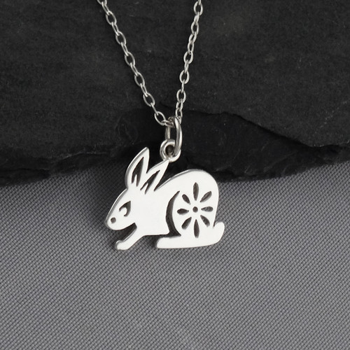 Engravable Chinese Zodiac Dog Tag Necklace: Year Of The Rabbit Necklace