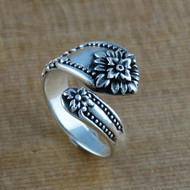 Victorian Flower Spoon Ring - 925 Sterling Silver