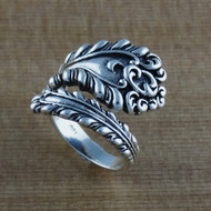 Victorian Antiqued Spoon Ring - 925 Sterling Silver