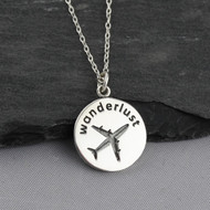 Wanderlust Airplane Charm Necklace - 925 Sterling Silver
