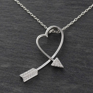 Arrow Heart Necklace - Sterling Silver - CZ Slider Pendant