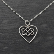 Celtic Knot Heart Necklace - 925 Sterling Silver