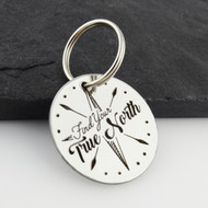 Engraved Find Your True North Key Chain - Stainless Steel