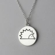 Engraved Hedgehog Pendant Necklace - Sterling Silver