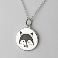 Engraved Fox Pendant Necklace - Sterling Silver