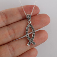 Marcasite Ichthus Christian Fish Pendant Necklace, Sterling Silver