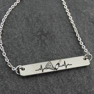 Pizza and Champagne Heartbeat Engraved Necklace