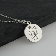Engraved Anatomical Heart Pendant Necklace - Sterling Silver