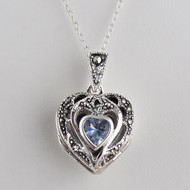 Marcasite Heart Locket Necklace - Sterling Silver, Aquamarine CZ