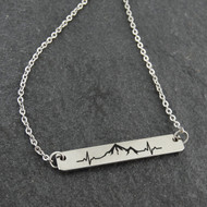 Mountain Range Heartbeat Bar Necklace - Engraved Stainless Steel