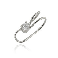 4mm Round CZ Ear Cuff Earring - Sterling Silver - Left or Right Ear