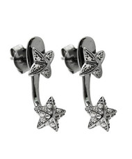 Black Ruthenium Sterling Silver Star Ear Jacket Earrings, Butterfly Backings