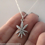 Cannabis Leaf Necklace - 925 Sterling Silver