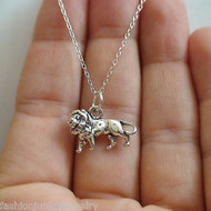 3D Lion Charm Necklace - 925 Sterling Silver