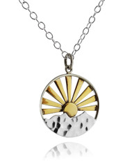 Bronze Sunset Pendant Necklace - 925 Sterling Silver